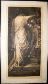Frank Short after George Frederic Watts 1900 Signed Folio Mezzotint. Love and Death